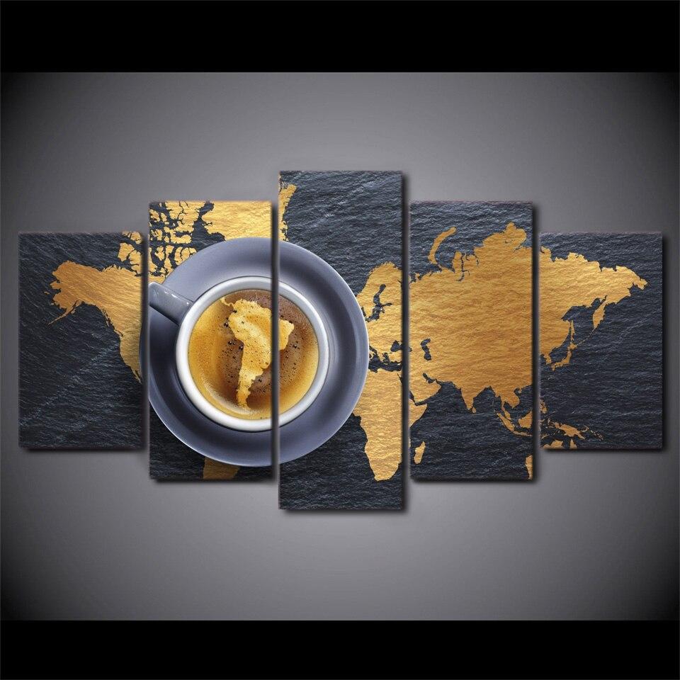5 pièce encadré imprimé café carte du monde nature morte peinture sur toile chambre décor Art imprimer photo toile affiche impression