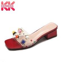 Купить с кэшбэком KemeKiss Women High Heels Sandals Colorful Rivets Fashion Slippers New Summer Beach Party Clear Pvc Shoes Women Size 35-39