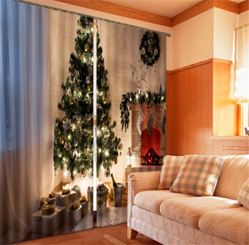 2017 Luxury christmas tree 3D Blackout Window Curtains For Kids Bedding room Living room Hotel Drapes Cortinas