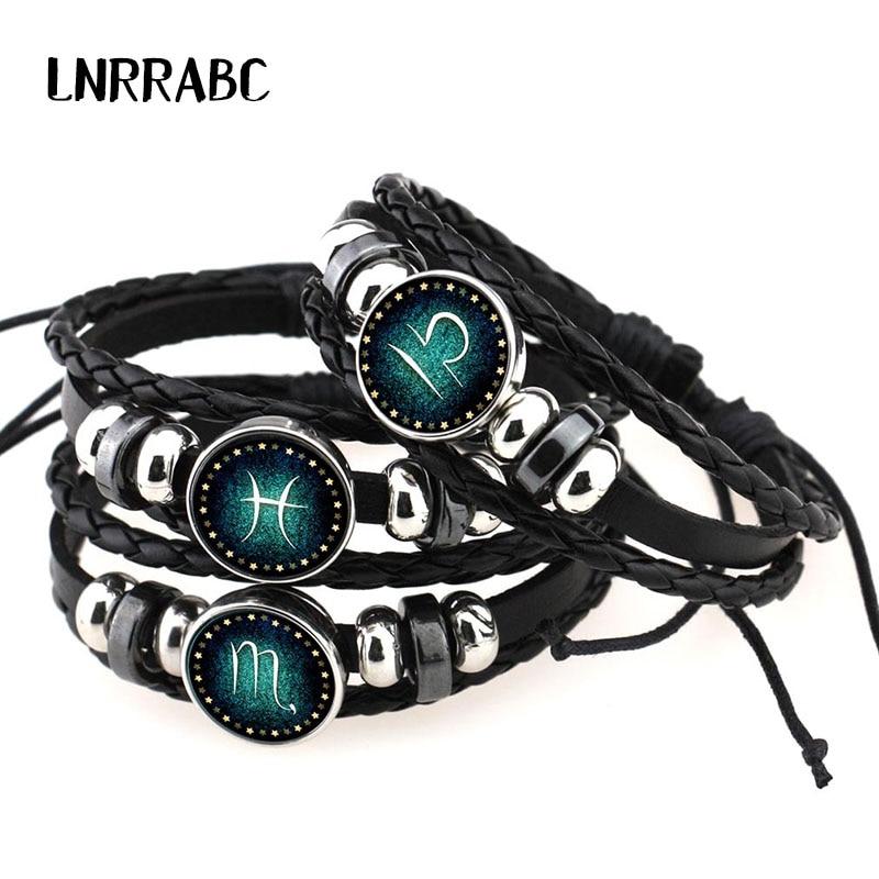 Sale Leather 12 Constellations Charm Women Bracelet Zodiac Sign Bangle & Bracelets Men Boys Jewelry Watch Accessories Браслет