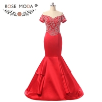 Rose Moda Short Sleeves Red Mermaid Prom Dress Off Shoulder Crystal Prom Dresses Formal Party Dresses for Xmas