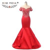 Rosa Moda Maniche Corte Red Mermaid Prom Dress Off Spalla di Cristallo Da Promenade Convenzionale Del Partito Abiti per Natale