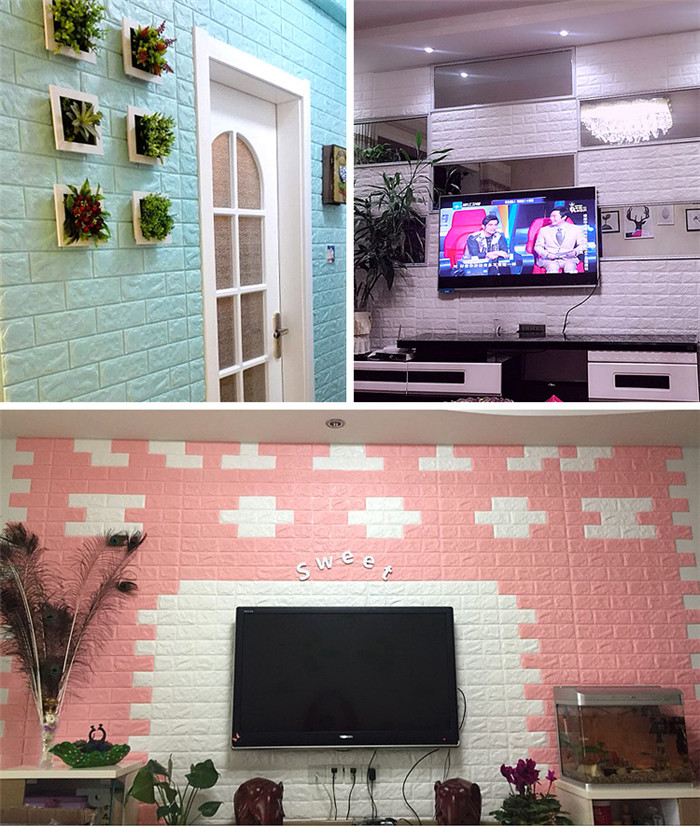 3D wall stickers self adhesive creative TV background foam wall ...