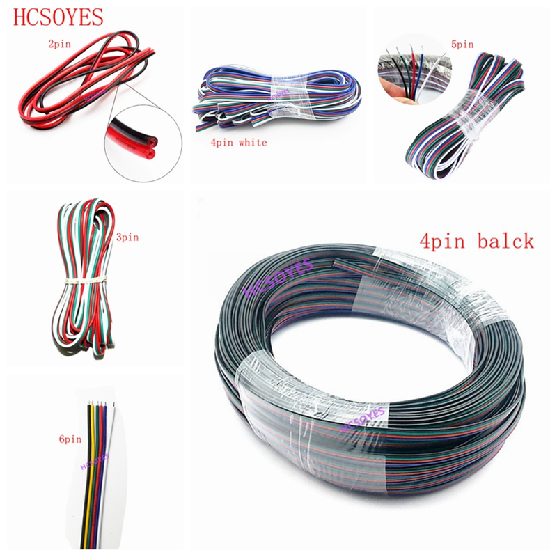 5~100 Meters 2pin 3pin 4pin 5Pin 6pin 22 AWG Extension Electric Wire Cable Led Connector For 5050 WS2812 RGBW RGB CCT LED Stirp