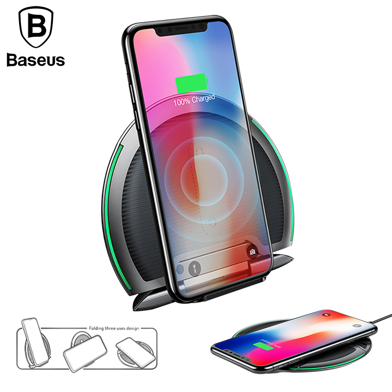 Collapsible Qi Wireless Charger for iPhone 8/X Multifunction Fast Wireless Charging for Samsung S9/S9+/S8 Huawei P20 Pro