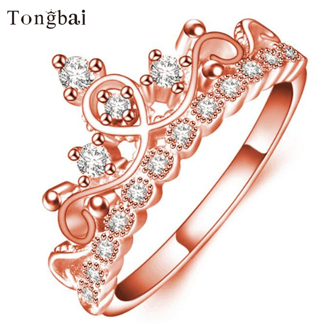 e6a9f1424b Tongbai 925 sterling Rings for Women Rose Gold Princess Tiara Royal Crown  With Crystal Promise Rings