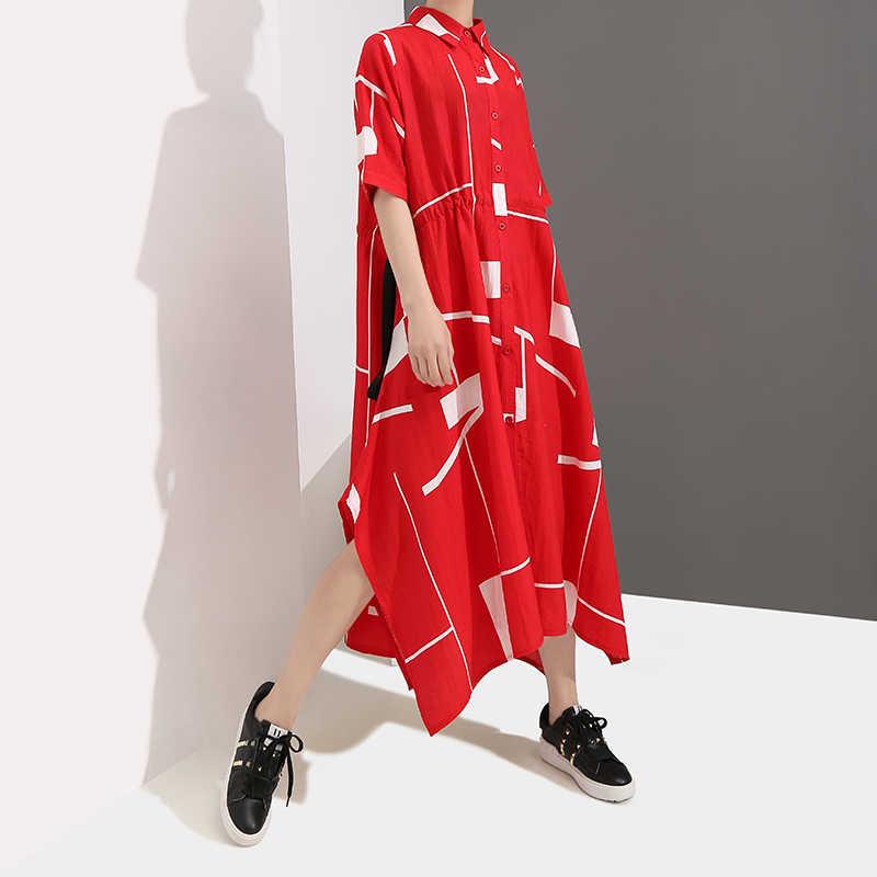 Женское платье с геометрическим узором, красное платье большого размера с короткими рукавами, модель 4959 в корейском стиле на лето, 2019