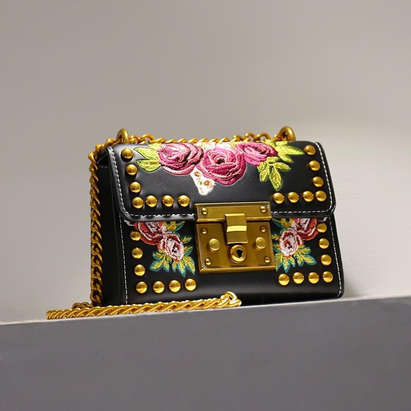 2017 Fashion Women Lady Rivets Embroidery  Flowers Chains PU Leather Handbags Shoulder Bags Messenger Bag Black White Handbag