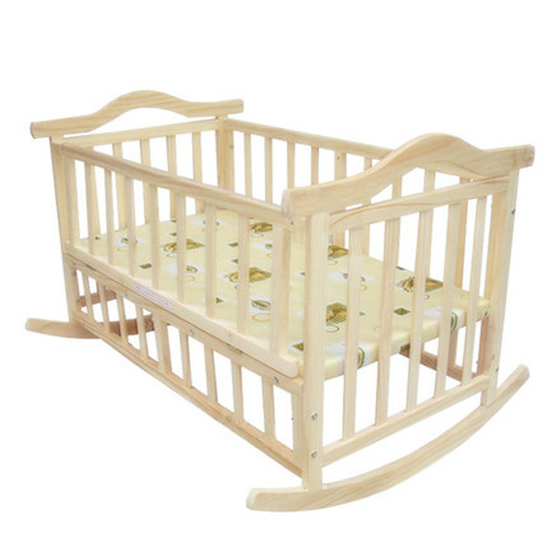 105cm/120cm extra big size baby bed, can load adult, no paint baby crib newborn baby cradle, rocking bed with mmosquito net corn husks cradle no paint wood frame cotton baby bassinet with mosquito net and mat steel frame baby cradle baby rocking crib