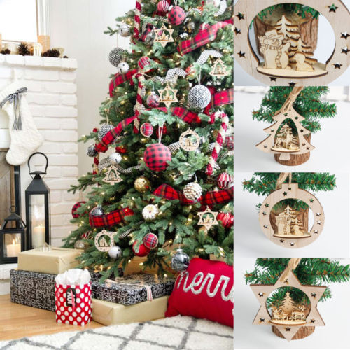 New 3D Pendants Hanging Wooden Christmas Tree Ornament Decorations Xmas Home Party Decor Holiday Gifts & Aliexpress.com : Buy New 3D Pendants Hanging Wooden Christmas Tree ...