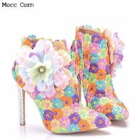Womens Colorful Flower Boots High Heel Shoes Winter Pointed Toe Ankle Boot High Quality Ladies Lace Wedding Boots Botas Mujer