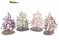 Sunligoo New 7 Chakra Crystal Tumbled Stones Tree of Life with Natural Agate Base Money Tree Feng Shui Ornament Decor 5.12 6.29