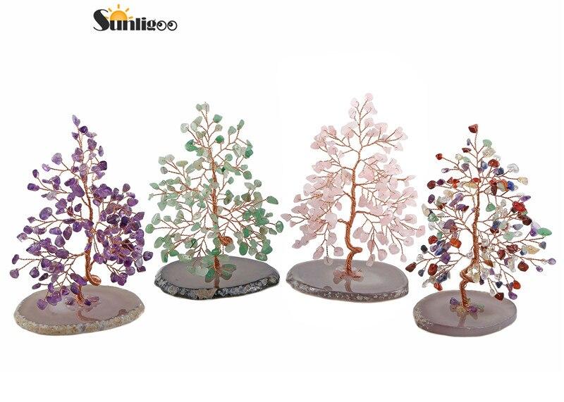 Sunligoo nouveau 7 Chakra cristal culbuté pierres arbre de vie avec Agate naturelle Base argent arbre Feng Shui ornement décor 5.12-6.29