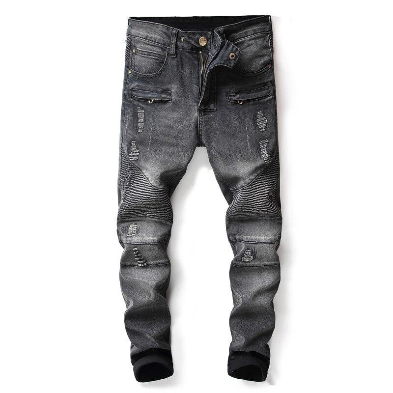 Для мужчин s джинсы balmain дизайнер Байкер теплые джинсы для женщин проблемных джинсовые мотоциклетные брюки джоггеры Slim Fit рваные джинсы мото...
