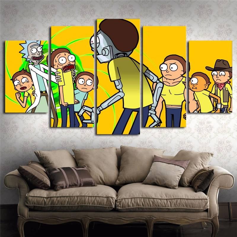 ᗜ LjഃPintura de la lona cuadros moda 5 paneles Rick y Morty pared ...