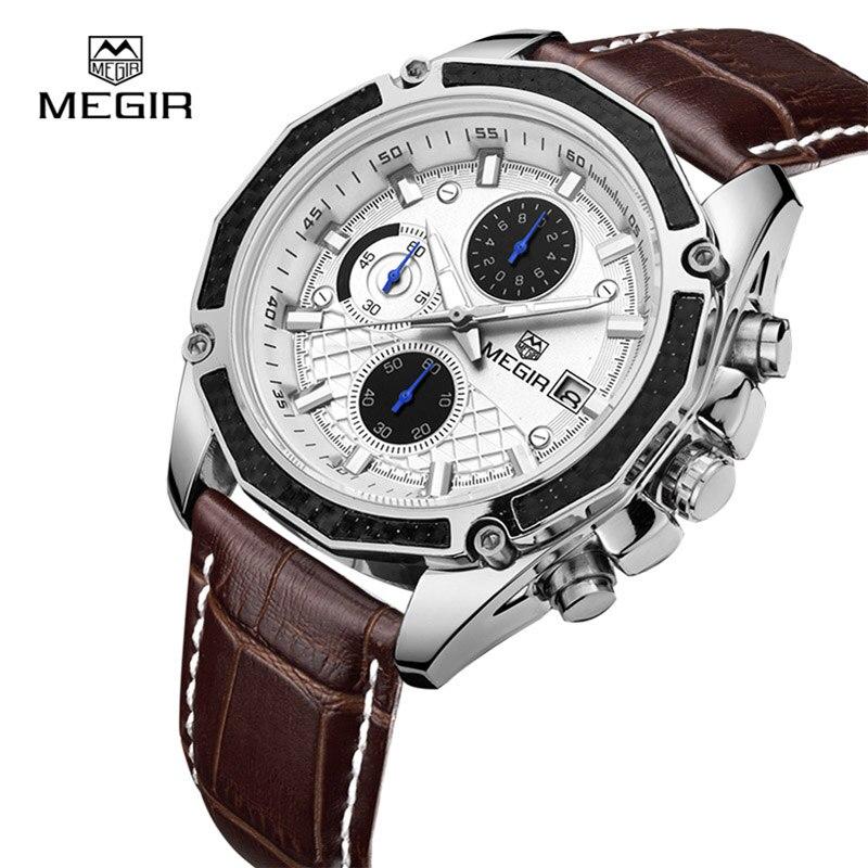 MEGIR Top Marque Quartz Hommes Montres De Mode Véritable En Cuir Chronographe Montre Horloge Homme Montre-Bracelet Reloj Hombre 2015