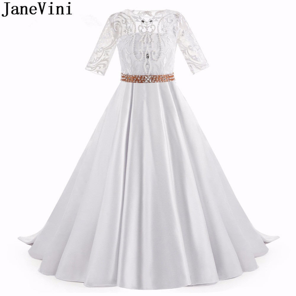 JaneVini Luxury White Satin Flower Girl Dresses Beaded Pearls Half Sleeves Button Back A Line Girls Pageant Dress Communie Jurk