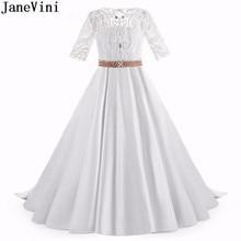 3fd9da92884 JaneVini Luxury White Satin Flower Girl Dresses Beaded Pearls Half Sleeves  Button Back A Line Girls Pageant Dress Communie Jurk