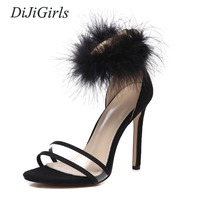 DiJiGirls Summer Fashion Sexy women's High heeled Sandals feather decoration Zipper shoes woman US5 10 Black Red