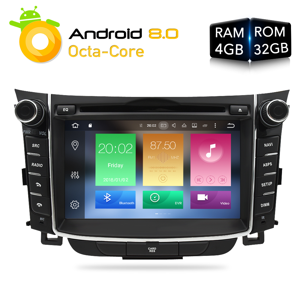Android 8.0Car Stéréo Lecteur DVD GPS Glonass Navigation Pour Hyundai I30 Elantra GT 2012 + 4 gb RAM Vidéo Multimédia radio headunit