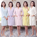 Bath Robe Dressing Gown Unisex Men Women Solid Cotton Waffle Sleep Bathrobe Nightgowns Robes