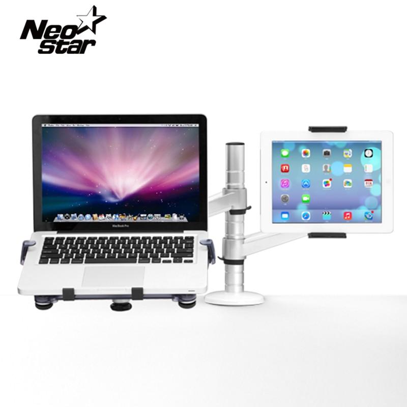 Universal 2 En 1 Deux Bras Tablet Support Pour Ordinateur Portable Pour IPad pour Macbook 7-10 Comprimés 10-15 Pouce Portable PC Ordinateur Portable Lit Bureau titulaire