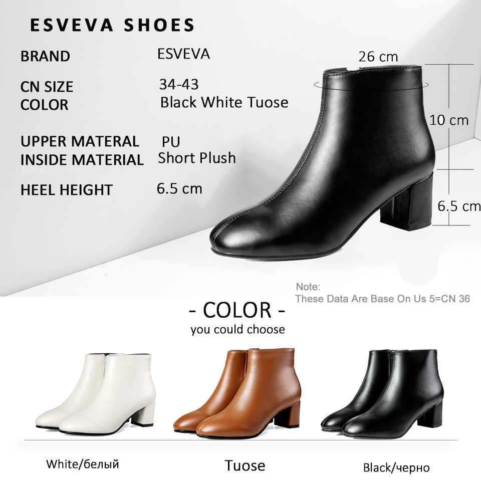 ESVEVA 2019 Kadın Botları Klasik Kare Yüksek Topuklu Sonbahar Ayakkabı Batı Tarzı Yuvarlak Ayak Çizmeler Kadın yarım çizmeler Ayakkabı Boyutu 34 -43