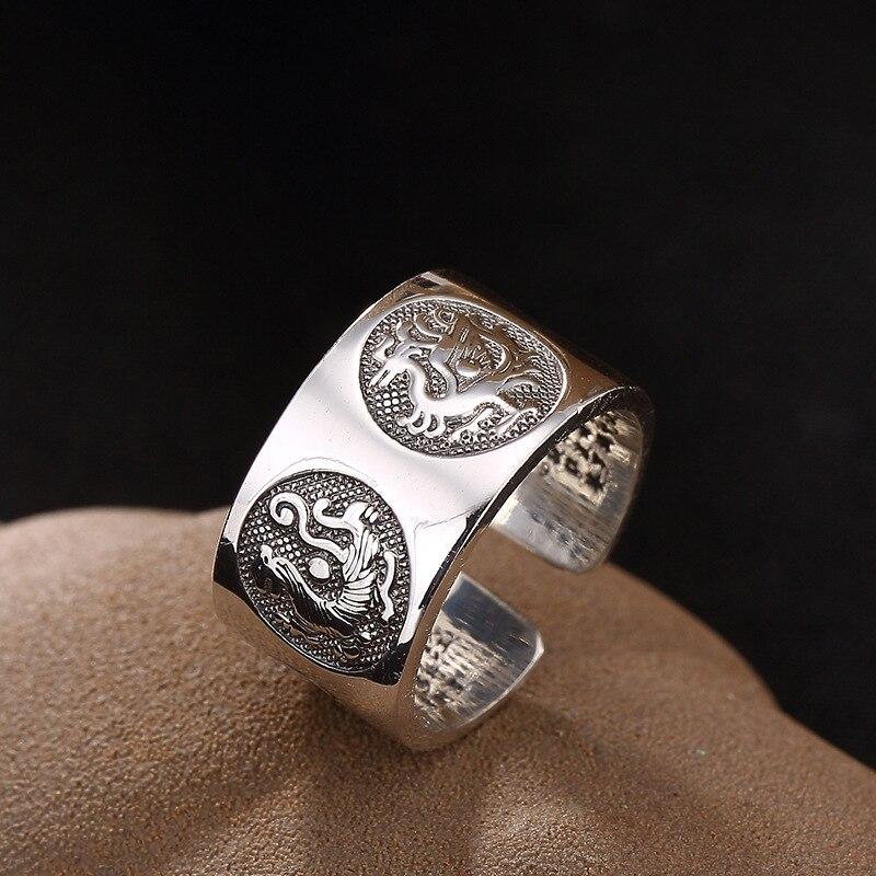 L & P pur 925 bague en argent Sterling pour femmes et hommes, quatre animaux effrayés anneau réglable bijoux fins cadeau AJ