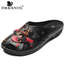 DRKANOL 2019 Handmade Natural Cow Leather Women Sandals Summer Flat Hollow Out Bowtie Ladies Shoes Size 43