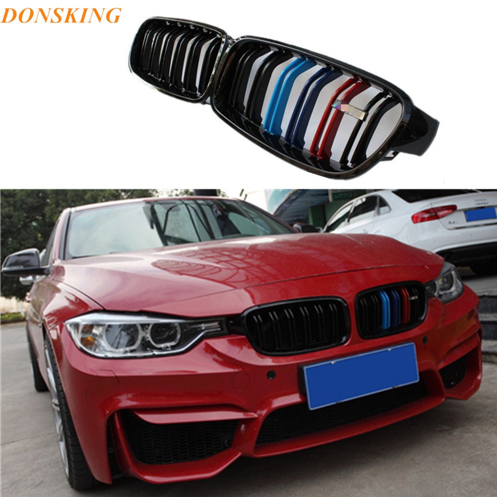 Dual slat m color front racing grill for bmw f30 f31 2012 2015 3 series