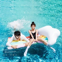 180CM Inflatable Rainbow Giant Pool Float Inflatable Mattress Swimming Ring Inflatable Circle Beach Sea Water Party Toys Unicorn