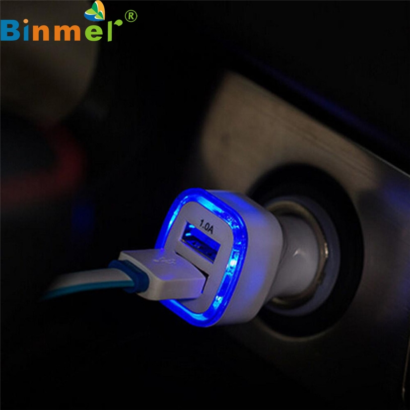 Factory Price BINMER Hot Selling 2.1A LED USB Dual 2 Port Adapter Socket Car Charger For Iphone/Samsung/HTC Wholesale Good