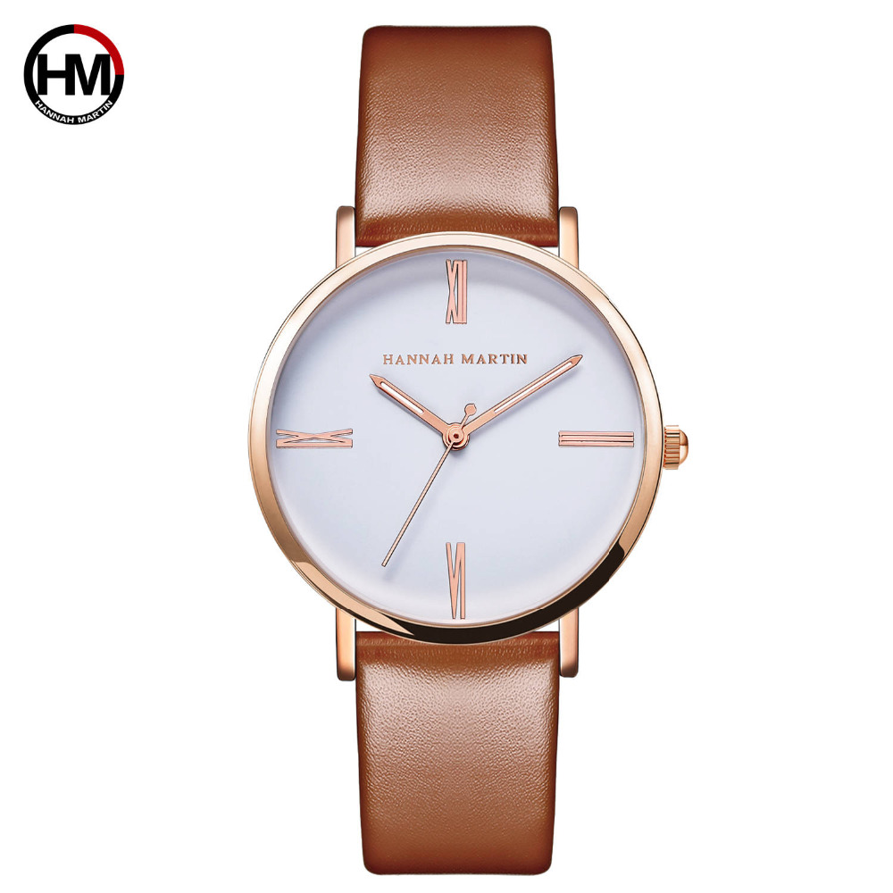 Hannah Martin New Women Fashion Top Luxury Brand Quartz Sk Clock Relogio Feminino Ladies Rose Gold Brown Watches Bayan Kol Saati