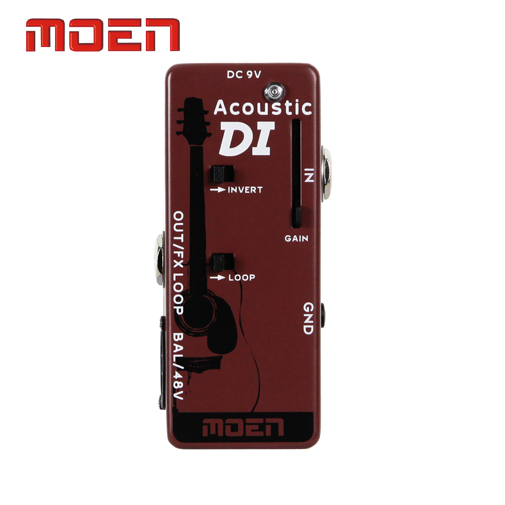 Moen Pedal Acoustic DI Box Speaker Guitar Effect Pedal True Bypass Design aroma adr 3 dumbler amp simulator guitar effect pedal mini single pedals with true bypass aluminium alloy guitar accessories