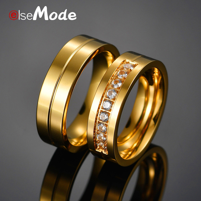 ELSEMODE Romantic 6MM Titanium Stainless Steel Couple Ring Lover Cubic Zircon Gold Color Wedding Rings For Women Men Size 6-12
