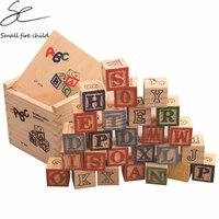 赤ちゃんのおもちゃabc/123木製キューブ図形ブロック教育早期学習おもちゃ27ピースアルファベットビルディングブロックポーチクリスマスギフ