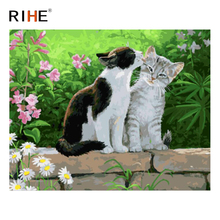 RIHE Cute Cat Diy Painting By Numbers Animal Grass Oil On Canvas Hand Painted Cuadros Decoracion Acrylic Paint 40X50CM