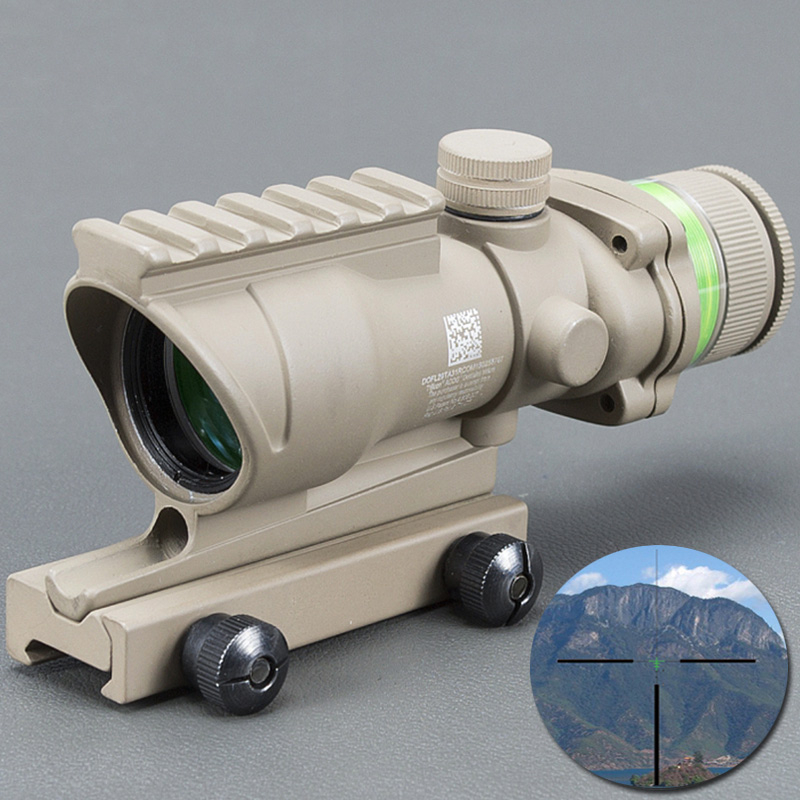Acog Tan Color Tactical Style 4x32 Rifle Scope Red Dot Green Optical Fiber 20mm Rail Scope Mounts&accessories Mildot стоимость
