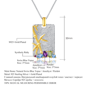 Image 5 - GEMS bale doğal Topaz ametist Peridot güzel takı 925 ayar gümüş el yapımı bambu kolye kolye kadınlar için