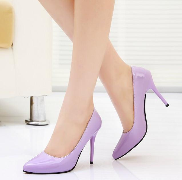 lady Women Patent Leather fashion MID high heels POINTED corset WORK PUMPS COURT SHOES EUR 34-39  952-1PA