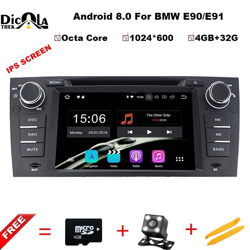 все цены на Octa Core Car DVD Player Pure Android 8.0 For BMW E90 E91 E92 E93 3 series Multimedia GPS Radio DVB TV BT WIFI Rear View Camera онлайн