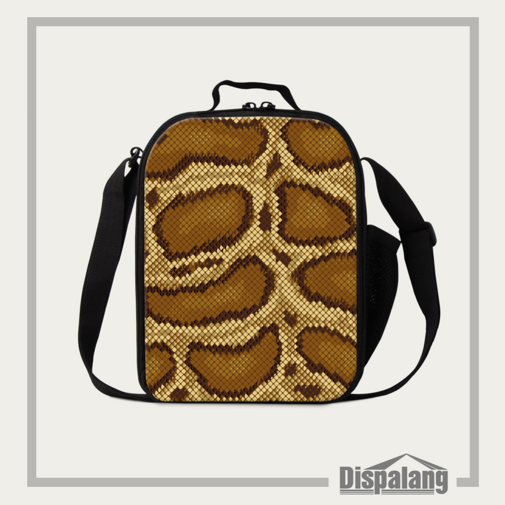 Dispalang Animal Thermos Cooler Kids Lunch Bags Cool Snake skin Print Small Lunch Box for Men School Student Picnic Food Bag