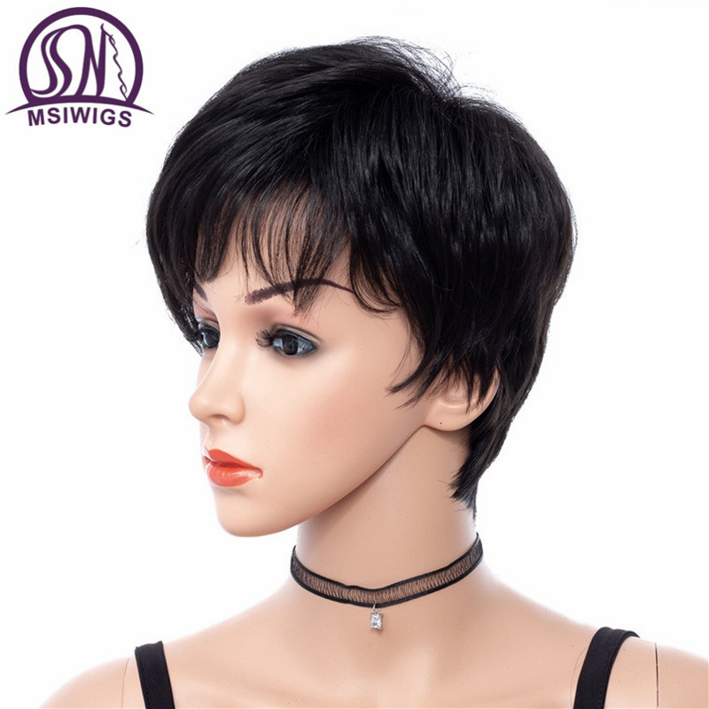 MSIWIGS Short Women Wigs in Black Kinky Straight Synthetic Hair Wig with Side Bangs No Glue 8 Inch Hair Heat Resistant