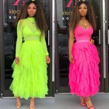 BKLD moda Tutu spódnica z tiulu kobiety długa, maksi spódnica 2019 wiosna lato koreański Neon zielony wysokiej talii fala nieregularne ciasto spódnica