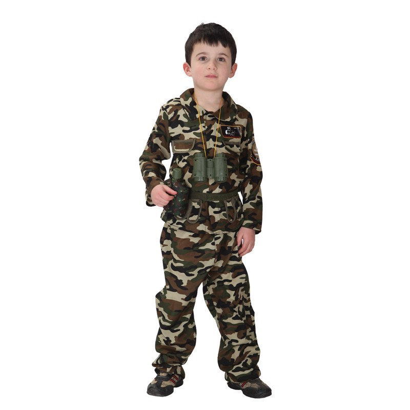 MOONIGHT Top+Pants Children Stage Army Costumes Halloween Cosplay Costume Special Forces Handsome Soldier Camouflage Clothing