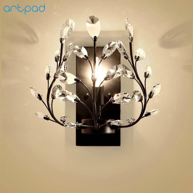 Artpad American Chandelier Lighting LED Wall Crystal Lamps Living Room Bedroom Bedside Illumination Candle Wall Lights 220V 110V декоративні лампи із дерева у стилі бра