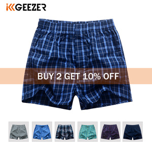 Image 1 - Underwear Men Boxer Plaid Underpants Cotton Shorts Men Striped Panties Loose High Quality Russian Size Breathable Dropshipping