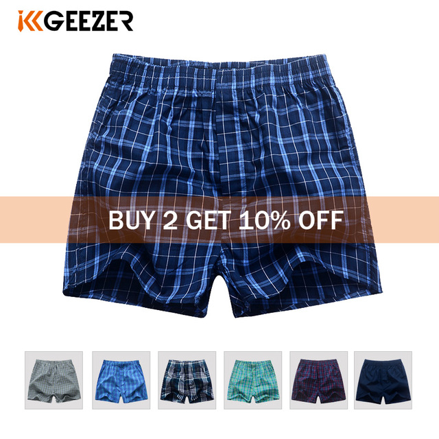 Underwear Men Boxer Plaid Underpants Cotton Shorts Men Striped Panties Loose High Quality Russian Size Breathable Dropshipping