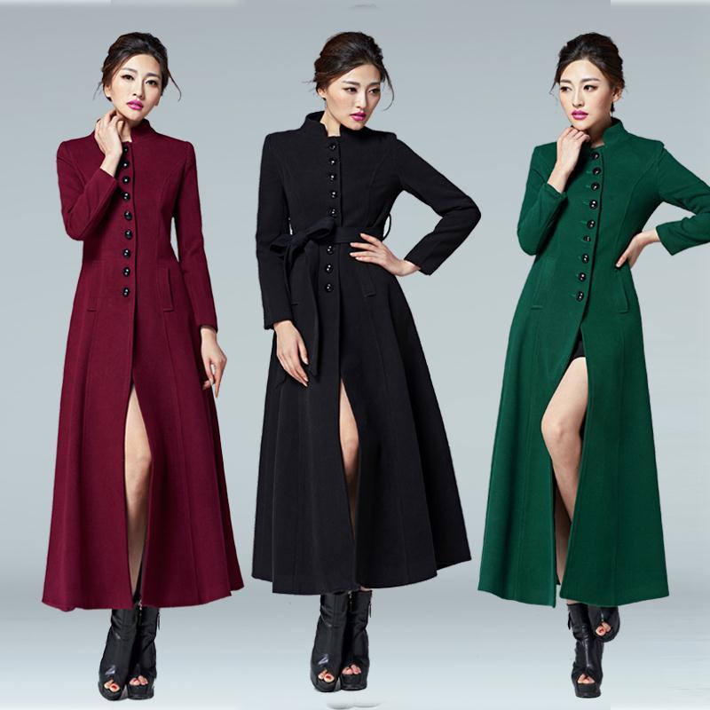 2017 Hot Fashion font b women b font long coat single breasted wool coat plus size