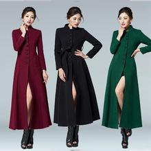 2017 Hot Fashion women long coat single breasted wool coat plus size stand collar autumn winter jacket and coats woolen trench